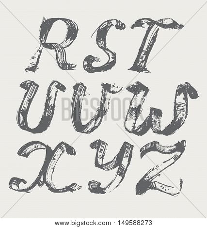 Ink alphabet R to Z freehand stylish in raster. Illustration made with black dye isolated on white black decorated. Upper case. Vector illustration perfect for presentations and education.