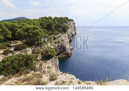 ISLAND DUGI OTOK, CROATIA - SEPTEMBER 7, 2016: These are rocks of the island of Dugi Otok located on the coast of the island included in the Telascica National Park.
