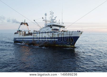 Anadyr Russia - August 13th 2016: Port Anadyr the Bering Sea fishing seiner MYS MENJSHIKOVA fishes.