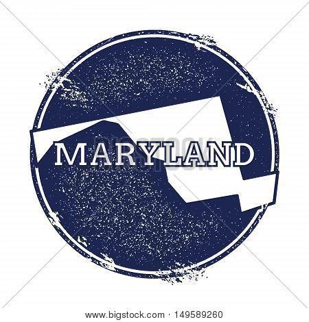 Maryland Vector Map. Grunge Rubber Stamp With The Name And Map Of Maryland, Vector Illustration. Can