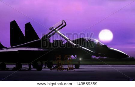 Fighter jet on standby ready to take off during sunrise