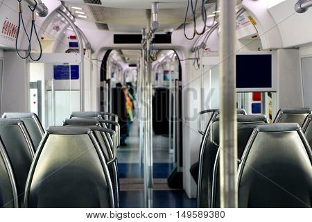 Interior of a train with empty seats