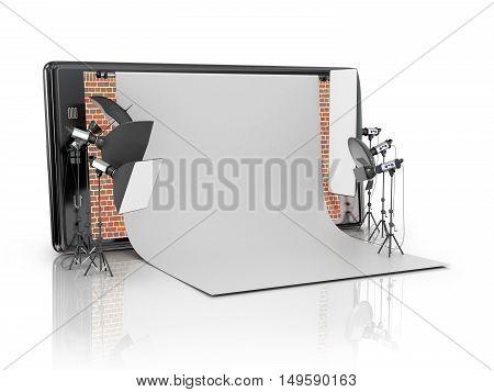 Photo studio concept. Photo Studio built-in smart phone on a white background.3D illustration