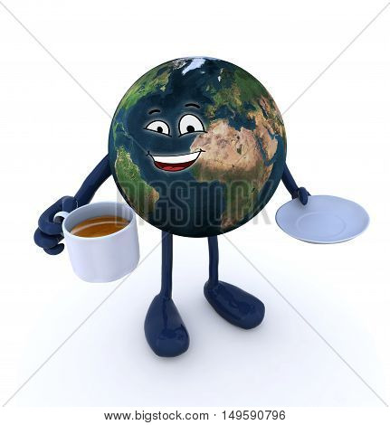 planet earth with arms legs cup of coffee on hand and cartoon face 3d illustration