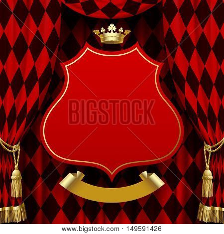 Red and black rhomboids background with a suspended decorative baroque signboard, gold crown and ribbon. Square presentation artistic poster and placard