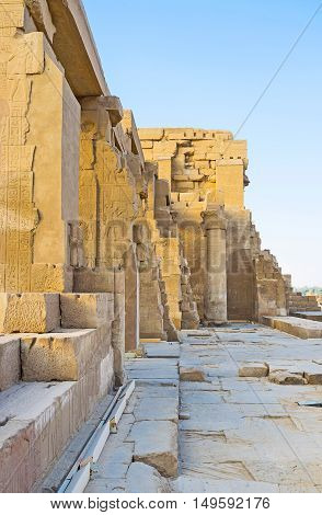 The remains of the Hypostyle Hall in Kom Ombo Temple in Egypt.