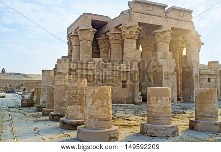 The pronaos of Kom Ombo Temple with the view on the main entrance with huge columns Egypt.