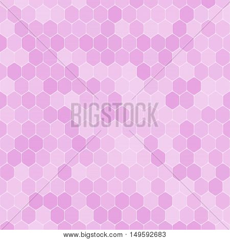 Vector abstract pink gradient background with hexagon shapes different opacity.