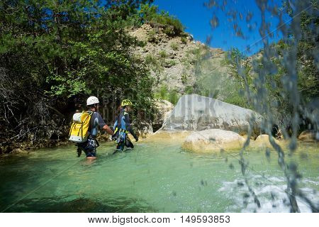Canyoning in Lucas Canyon, Tena Valley, Pyrenees, Huesca Province, Aragon, Spain.