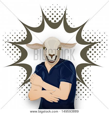 Anthropomorphic design of Goat, Vector Half Human and Half Animal illustration, Goat Dressed Up in T-Shirt. Creative pop art explosion.