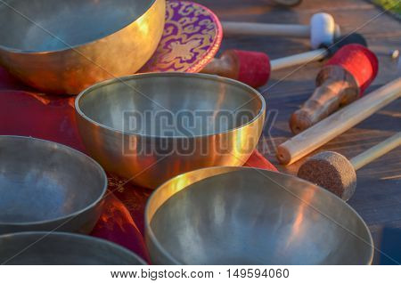 Tibetan bells , ethnic instruments for relaxing massage