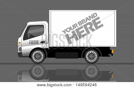 Digital vector silver and white realistic vehicle truck car mockup, ready for your logo and design, flat style