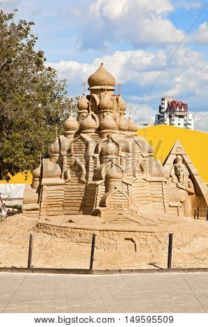 MOSCOW RUSSIA - August 18.2013: Exhibition of sculptures made of sand in Kolomenskoye city park. Sculpture Church of the Transfiguration (Kizhi)