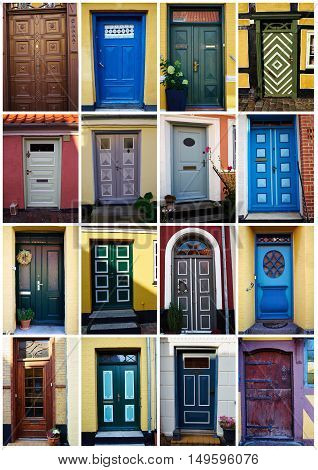 Collage with white border of traditional vintage colorful decorative front doors Denmark