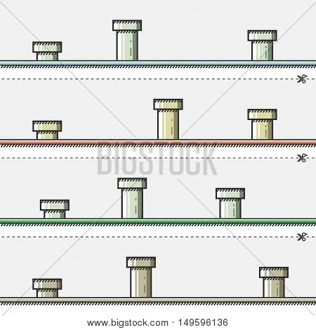 Retro backgrounds with pipes for creating video game