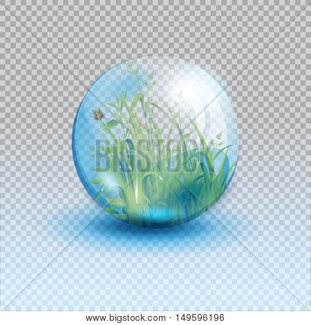Go green life, environment symbol, in the form of a glass bowl isolated  on transparent background. Vector illustration.