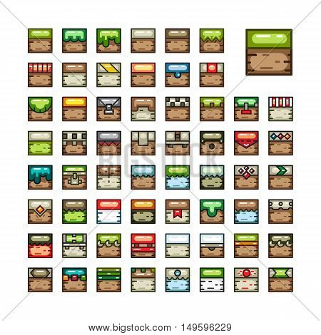 Big set of 2D tiles for creating video game