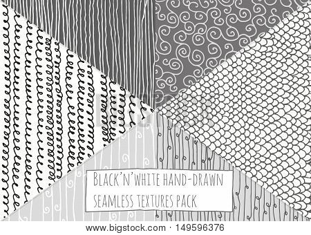 Black and white textures seamless hand-drawn simple based on stripes flourishes and loops. Stylish vector illustration drawn with ink and liquid dye