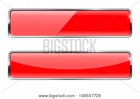 Red buttons with chrome frame. Glossy rectangular buttons. Vector illustration isolated on white background