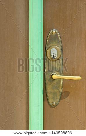 Door handle and wooden door close up
