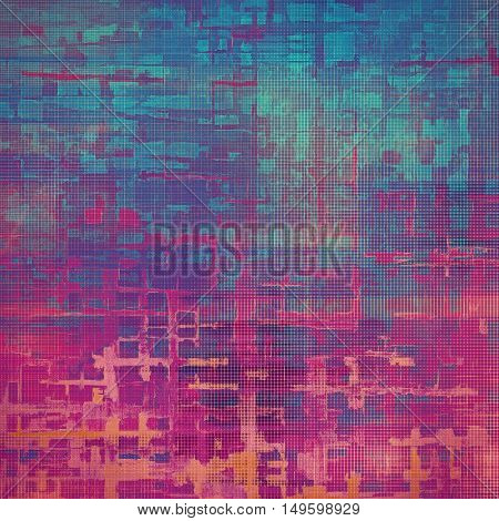 Decorative vintage texture or creative grunge background with different color patterns: blue; red (orange); purple (violet); pink; cyan