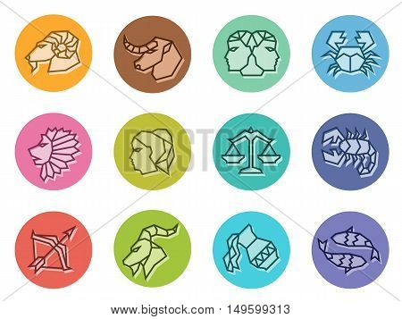 Horoscope zodiac line border sharp sign icon on circle vector illustration set design