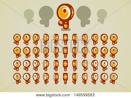 Set of four animated rotating golden keys