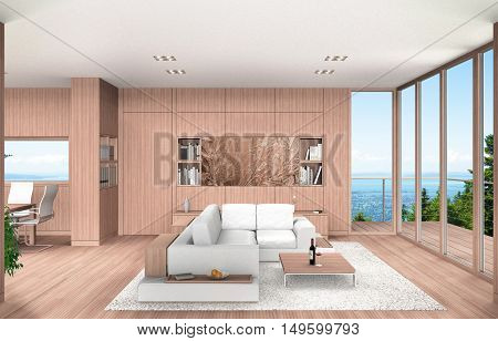 3D rendering showing a modern living room and dining room with beech wood paneling overlooking a mountain landscape with lake