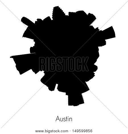 Planet Austin , capital of Texas black vector circular silhouette skyline