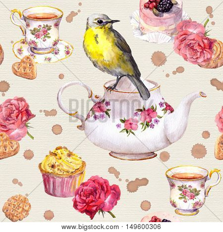 Teatime: tea pot, tea cup, cakes, rose flowers and bird. Elegant seamless tea time pattern. Watercolor