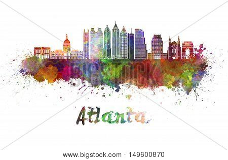 Atlanta skyline in watercolor splatters with clipping path