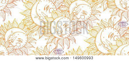 Vector seamless celestial pattern with moons, suns faces .Boho chic print hand drawn in warm gradient line on  white, with small details and elements of Eye pyramidal symbol. Textile design