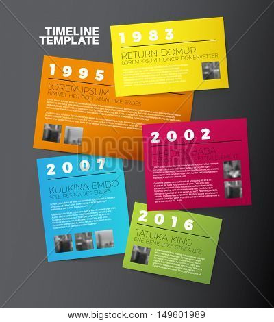 Vector Dark Infographic typographic timeline report template with the biggest milestones, photos, years and description on color papers