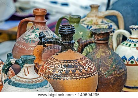 Romanian traditional ceramic in the form of jugs painted with specific reasons for Banat area Transylvania.