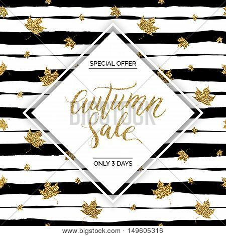 Autumn sale vector text on gold autumn leaves seamless pattern on striped background, special offer autumn sale, golden shiny autumnal text for card, poster, banner, print