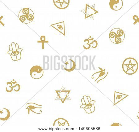 Seamless pattern with ancient sacral symbols. Egyptian hermetic religious and magic symbols. Vector background.