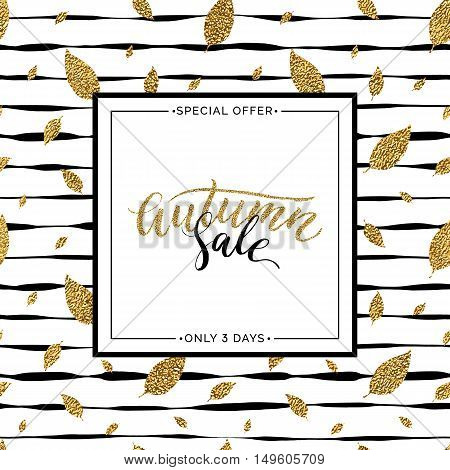 Autumn sale text vector on seamless striped background with gold glitter leaves, special offer autumn sale, golden shiny autumnal text for card, poster, banner, print,