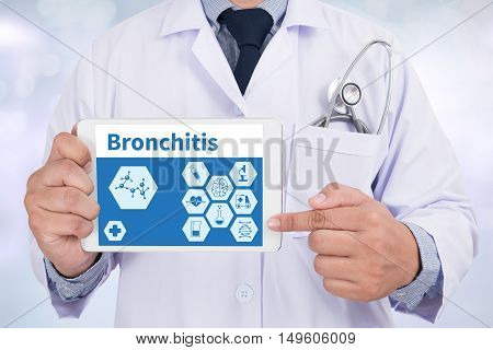Bronchitis Doctor holding digital tablet Doctor work hard and Doctor medical