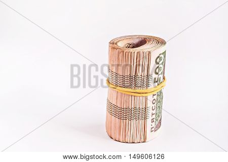 a pack of 500 hryvnia a rolled.