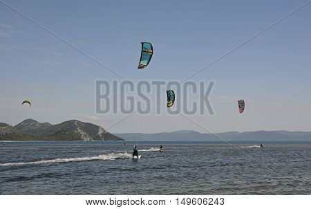 Blace Croatia - June 18th 2016. Students practice kite surfing at a kite surfing school near the coastal Croatian village of Blace.