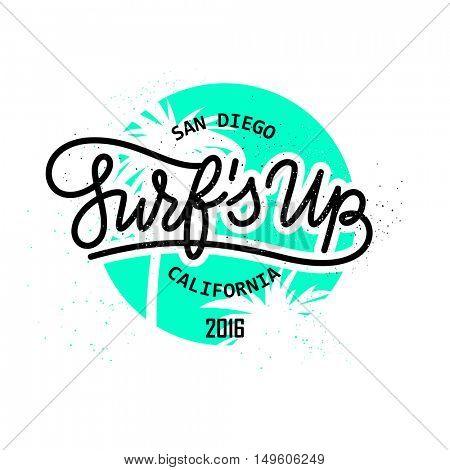 Surf's up Retro style hand lettering emblem