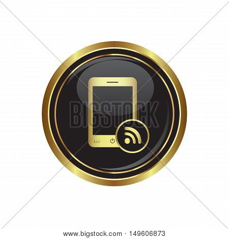 Phone icon with rss menu. Vector illustration