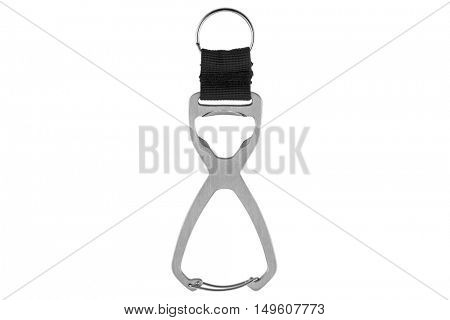 Closeup of steel carabiner keychain ring with bottle opener isolated on white background