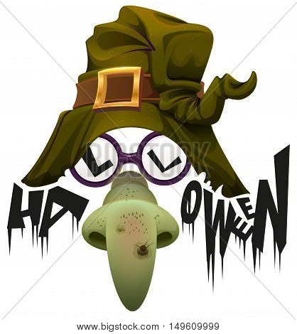 Witch's hat, green nose and glasses accessory for Halloween party. Isolated on white vector illustration