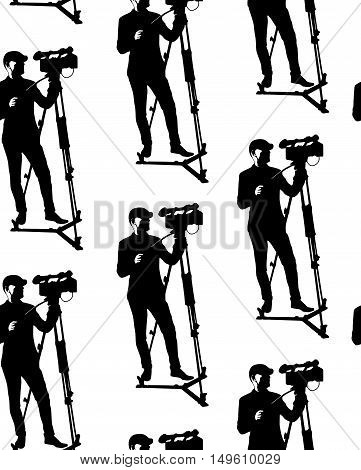 Seamless pattern of cameraman with video camera. Vector white background with black silhouettes of men. Videographer. Television. Broadcasting.