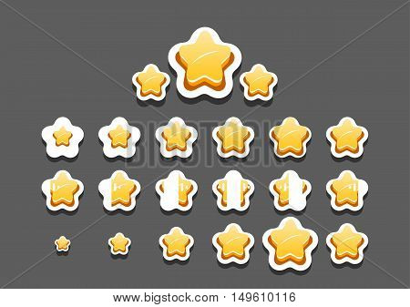 Set of animated stars for creating video game