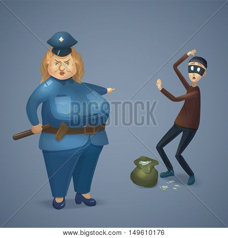 Strict policewoman catching a thief. Big cop woman and scared robber with stolen money. Cartoon charters. Vector illustration
