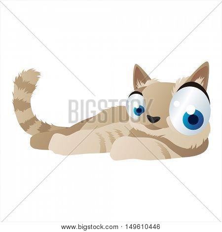 cute vector comic cartoon animal. Cool colorful Cat design