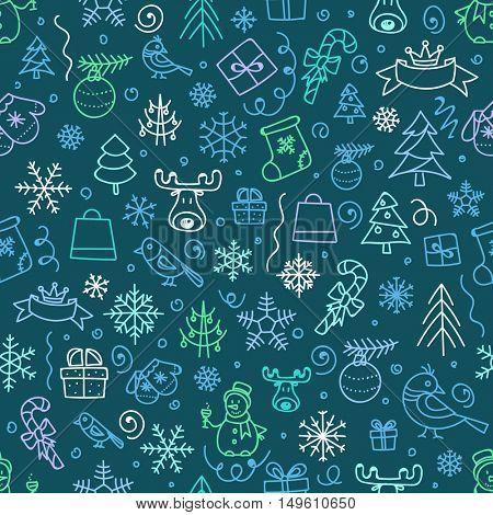 Christmas season vector seamless pattern. Xmas hand-drawn color elements