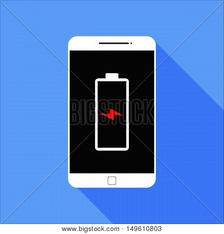 Flat Running Out Battery or Empy Battery Smart Phone Icon with Long Shadow
